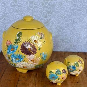 1930's Yellow Ransburg Cookie Jar & Salt N' Pepper